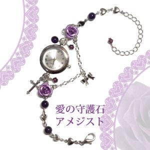 紫 薔薇 バラ 腕時計 天然石アメジスト パワーストーン ブレスウオッチ 銀 シルバー|rose-cross