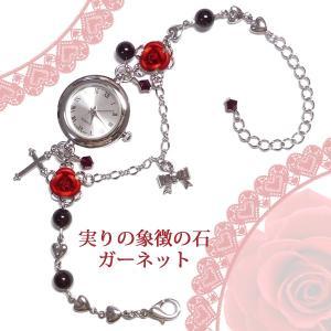 赤薔薇の腕時計&天然石ガーネットのパワーストーン ブレスウオッチ銀シルバー|rose-cross