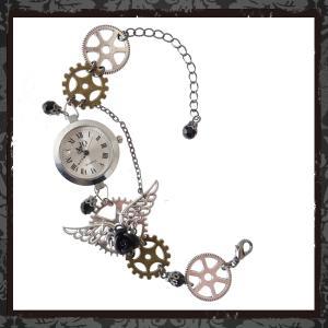 歯車 ギア スチームパンク 蒸気機関 機械 ゼンマイ 腕時計 ブレスウオッチ ブレスレット 羽根 フェザー 黒ブラック ゴシック ゴスロリ パンク アクセサリー rose-cross