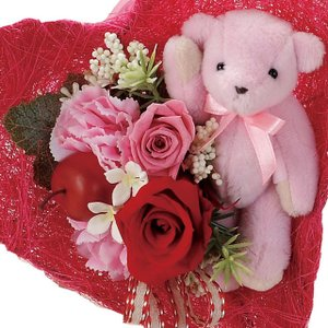 テディベア ピンク ウエディング ブーケ 母の日 ギフト 贈り物 誕生日 送別会 結婚式|rose-f