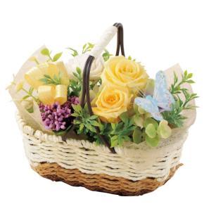 バスケットガーデン イエロー ウエディング ブーケ 母の日 ギフト 贈り物 誕生日 送別会 結婚式|rose-f