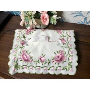 送料込み:011/ティッシュカバー/カットワーク刺繍  12×23×4.5cm  薔薇の花 上品でお洒落|rose-viva-shop