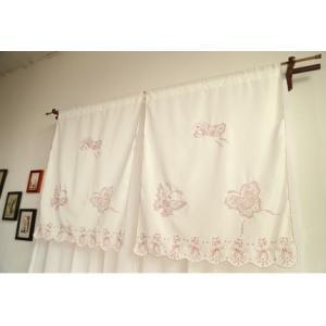 *.送料込み:2枚セットカフェカーテン&カーテンバランス 75×85cm 蝶々 ピンク刺繍|rose-viva-shop
