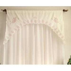--送料込み:カフェカーテン&カーテンバランス 150×85cm 蝶々 ピンク|rose-viva-shop