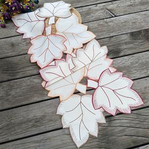 立体感のある葉っぱ柄 33X85cm テーブルセンター カットワーク刺繍 #883|rose-viva-shop