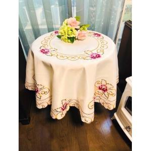 テーブルクロス 円形 150cm カットワーク牡丹花の刺繍  #327|rose-viva-shop