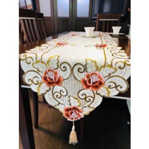 テーブルランナー牡丹ノ花 豪華刺繍 40X175cm #238 rose-viva-shop
