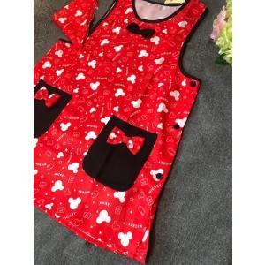 送料込み 大人用レディースフリーサイズ キャラクターエプロン 三角巾付セット /Mickey ミッキーモウス   ベスト系 rose-viva-shop