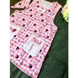送料込み 大人用レディースフリーサイズ キャラクターエプロン 三角巾付セット /ミニーマウス mini ベスト系 rose-viva-shop