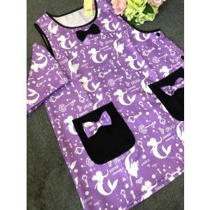 送料込み 大人用レディースフリーサイズ キャラクターエプロン 三角巾付セット  /アリエル ベスト系 rose-viva-shop