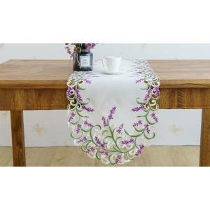 テーブルランナー ラベンダーの花 カットワーク刺繍 40×180cm #916 rose-viva-shop