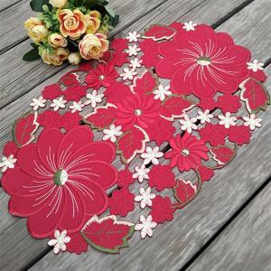-2枚セット♪テーブルセンター クリスマスコーディネート 35X45cm all カットワーク刺繍 赤 お花|rose-viva-shop