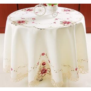 テーブルクロス 円形 150cm カットワーク刺繍 薔薇 #518|rose-viva-shop