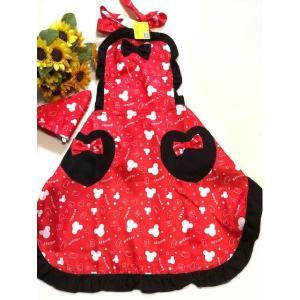 送料込み 大人用レディースフリーサイズ キャラクターエプロン 三角巾付セット   /Mickey ミッキーモウス  フリル系 rose-viva-shop