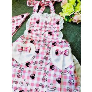 送料込み 大人用レディースフリーサイズ キャラクターエプロン 三角巾付セット /Minnie ミニー フリル系 rose-viva-shop