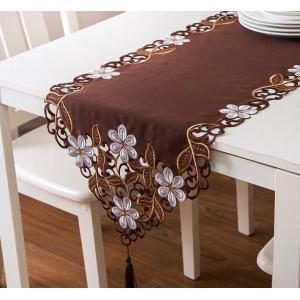 テーブルランナ― 日々草 ブラウン色 カットワーク刺繍 40×180cm #425 日々草 rose-viva-shop