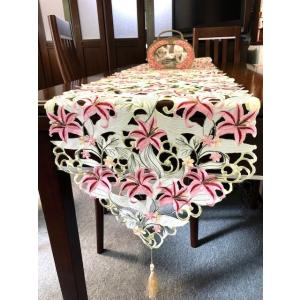 テーブルランナーピンク百合の花 カットワーク刺繍 40X180cm#425 rose-viva-shop