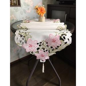 テーブルランナー40×180cm 百合の花 ピンク カットワーク刺繍 #117|rose-viva-shop