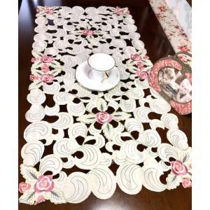 薔薇つぼみ 40X85cm テーブルセンター カットワーク刺繍 #426|rose-viva-shop