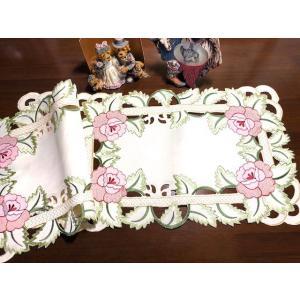2枚セット 30X042cm 薔薇 カットワーク刺繍テーブルセンター ドイリ#517|rose-viva-shop