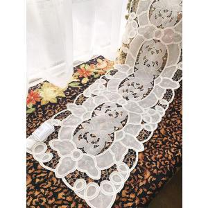 アイボリーホワイト 40X135cm カットワーク刺繍 テーブルセンター お洒落 透明感 |rose-viva-shop