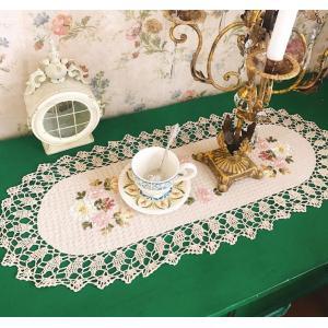 アイポリ色 40X110cm カットワーク刺繍 テーブルセンター  新入荷|rose-viva-shop