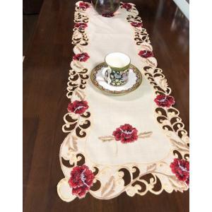 薔薇 30X86cm テーブルセンター カットワーク刺繍 #707|rose-viva-shop