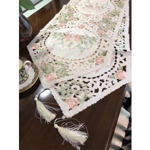 テーブルランナー 薔薇の花 カットワーク刺繍 40×180cm #717 rose-viva-shop