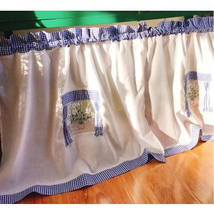 送料込み 2枚セットカフェカーテン 縦65X75cm2枚セット チェック柄 ブルー|rose-viva-shop