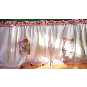 送料込み 2枚セットカフェカーテン 縦65X75cm2枚セット チェック柄 ピンク|rose-viva-shop