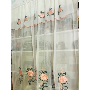 カーテンバランス付きカーテン 幅143cm 高225cm ピンク薔薇刺繍  内ポールを通すタイプ|rose-viva-shop