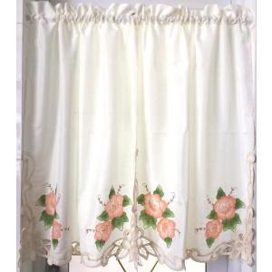 お花刺繍 /♪暖簾&カフェカーテン75X90cm2枚セット/ベージュ地 1|rose-viva-shop