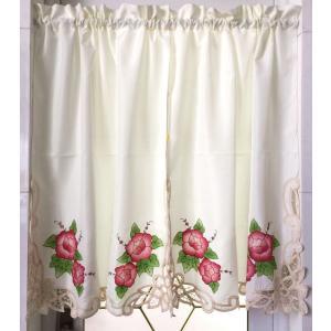 お花刺繍 /♪暖簾&カフェカーテン75X90cm2枚セット/ベージュ地 2|rose-viva-shop