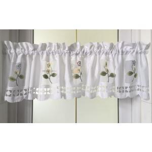 送料無料 カフェバランス カフェカーテン 横150X45cm 小花刺繍|rose-viva-shop
