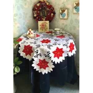 クリスマスシーズン ホワイト地に赤ポインセチア ALL カットワーク刺繍|rose-viva-shop