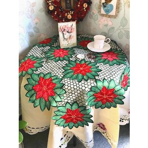 クリスマスシーズン グリーン地に赤ポインセチア ALL カットワーク刺繍|rose-viva-shop
