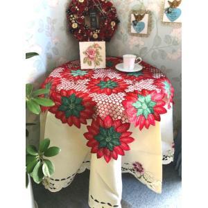 クリスマスシーズン 赤い地に赤ポインセチア ALL カットワーク刺繍|rose-viva-shop