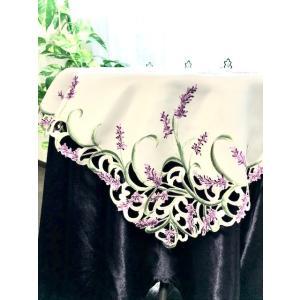 テーブルクロス85X85cmラベンダー ホワイト地にパープルラベンダーの花 角形 #927|rose-viva-shop