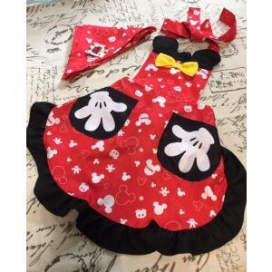 子供、キッズ用キャラクターエプロン三角巾付き セット /Mickey ペアルック|rose-viva-shop