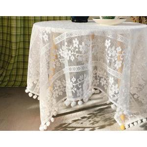 ホワイト地に美しい刺繍 テーブルクロス   四角形 132cm カットワーク刺繍  |rose-viva-shop