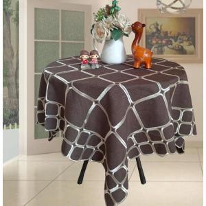 ブラウン地に刺繍 モダン系 テーブルクロス   四角形 110cm   |rose-viva-shop