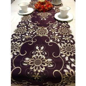テーブルランナ 40×180cm 超豪華ALL カットワーク刺繍薔薇パープル #1015|rose-viva-shop
