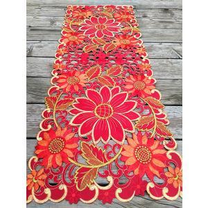 ♪Merry Xmas テーブルセンター クリスマスコーディネート 37X100cm all カットワーク刺繍 赤  完売1|rose-viva-shop