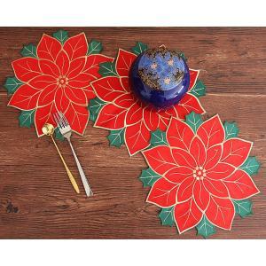 2枚セット Merry Xmas ポインセチアa刺繍 クリスマスリースリース形/ 30cm ドイリー|rose-viva-shop