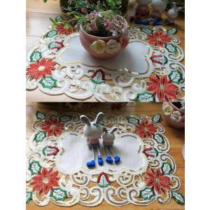 -♪Merry Xmas テーブルセンター クリスマスコーディネート 35X45cm 2枚セット all カットワーク刺繍 ポインセチア|rose-viva-shop