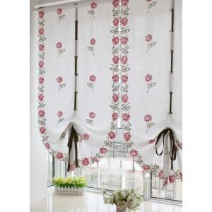 -送料無料 カフェカーテン バルーンシェード 65×175cm リボンで調節 ピンク薔薇刺繍|rose-viva-shop