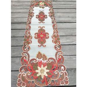 ♪Merry Xmas テーブルセンター クリスマスコーディネート 40X135cm aカットワーク刺繍 赤  M2|rose-viva-shop