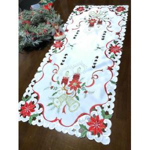 ♪Merry Xmas テーブルセンター クリスマスコーディネート 40X135cm aカットワーク刺繍 赤  M3|rose-viva-shop