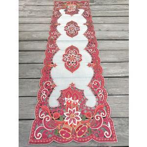 ♪Merry Xmas テーブルセンター クリスマスコーディネート 40X130cm aカットワーク刺繍 赤  キャンドルM1|rose-viva-shop