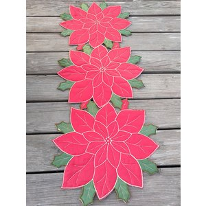 Merry Xmas/ポインセチアa テーブルセンター35×90cm クリスマスコーディネート |rose-viva-shop